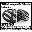 VW Volkswagen New Beetle 2013-2015 Matte Devil Black Front Hood Rear Trunk Emblems Bonnet Boot Badges 2Pcs Set