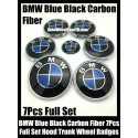 BMW Carbon Fiber Blue Black Wheel Center Caps 68mm Steering Horn 45mm Hood 82mm Trunk 74mm Emblems 7Pcs Bonnet Boot Roundels Badges Full Set