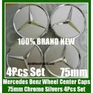 Mercedes Benz 75mm Wheel Center Caps Chrome Silver Emblems Badges Roundels Bright 4Pcs Set