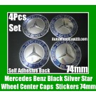 Mercedes Benz Blue Silver Star Wheel Center Caps Emblems Stickers 74mm 4Pcs Set Class E S CLK SLK