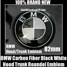 BMW e21 Carbon Fiber Black White Hood Trunk Emblem 323i 320i 320is 1977-83 New 82mm 2Pins