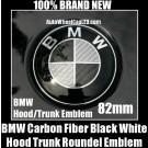 BMW e61 Carbon Fiber Black White Hood Trunk Emblem M5 550i 545i 540i 530i 525i 82mm 2Pins