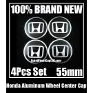 Honda Wheel Center Caps Emblems Tin Stickers Aluminum 55mm DIE CUT 3D 4Pcs Set