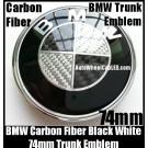 BMW Carbon Fiber Black White OEM Trunk Emblem Roundel Badge 74mm 2Pins