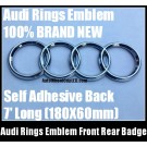 Audi Rings Chrome Silver Emblem Front Rear 180mmX60mm Grill Hood Trunk Badge A3 A4 A6 A8 S3 S4 S6 R Q7 Q5