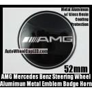 AMG Mercedes Benz Steering Wheel Center Emblem Badge Horn Devil Black C E S SL Class Curve 52mm Sticker