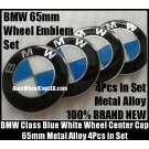 BMW Blue White 65mm Curve Wheel Center Caps Emblems Stickers Metal Aluminum Alloy 4Pcs in Set