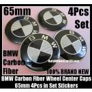 BMW Carbon Fiber Black White Wheel Center Hubs Caps 65mm Roundel Emblems Badges Stickers 4Pcs Curve