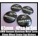 BMW Hamann Motorsport GMBH Black Chrome Silver Wheel Center Caps Stickers 65mm 4Pcs Set Aluminum Metal Curve