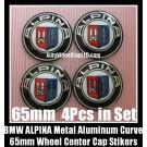 BMW ALPINA 65mm Curve Wheel Center Caps Emblems Stickers Metal Aluminum Alloy 4Pcs in Set