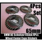 BMW AC Schnitzer Wheel Center Caps Emblems Stickers 65mm Drivers Collection Aluminum Alloy Metal 4Pcs Set