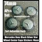 Mercedes Benz Black Silver Star Wheel Center Caps Emblems Stickers 74mm 4Pcs Set Class E S CLK SLK