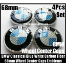 BMW Carbon Fiber Blue White Wheel Center Hubs Caps 68mm 4Pcs Roundel Emblems Badges Curve