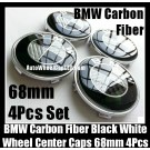 BMW Carbon Fiber Black White Wheel Center Hubs Caps 68mm 4Pcs Roundels Emblems Badges Curve
