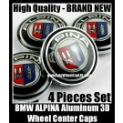BMW ALPINA Wheel Center Hubs Caps 68mm 4Pcs Roundels Emblems Badges Curve Metal Aluminium