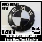 BMW Original Black White 82mm Hood Emblem Roundel Badge 2Pins