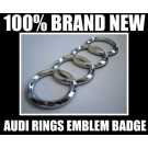 Audi Rings Chrome Silver Emblem Front Rear 140X45mm Grill Hood Trunk Badge A3 A4 A6 A8 S3 S4 S6 R Q7 Q5