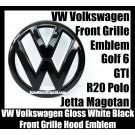 VW Volkswagen Gloss White Black Front Grille Emblem Badge Golf 6 MK6 GTI GTIs R20 New Polo Jetta Magotan Bonnet Hood