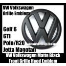 VW Volkswagen Full Matte Black Front Grille Emblem Badge Golf 6 MK6 GTI GTIs R20 New Polo Jetta Magotan Bonnet Hood