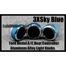 Ford Car Air Conditioner Heat Control Sky Blue Knobs Aluminum Alloy ABS Bright Interior Light