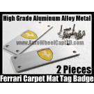 Ferrari Carpet Tag Badge 3D Carve Mat Emblem Aluminum Alloy Metal F40 F55 308 328 348 355 360 458 Metallic Silver