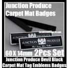 Junction Produce JP Devil Black Carpet Mat Tag Emblems Badges 2Pcs Aluminum Japan