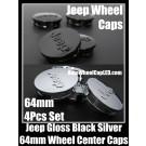 Jeep Gloss Black Silver 64mm Wheel Center Caps Hubs Emblems Roundels 4Pcs Set Wrangler Commander Grand Cherokee