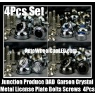 Junction Produce Garson VIP DAD Black Blue White Crystal Chrome Silver Japan Metal License Plate Bolts Screws 4Pcs Set