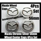 Mazda 56mm Chrome Silver Wheel Center Caps Emblems Roundels 4Pcs M6 M5 M3 M2 M8 CX-7 MX-5