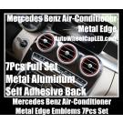 Mercedes Benz Blue Red Air-Conditioner Metal Edges Emblems Badges 7Pcs Aluminum Alloy Full Set C GLK Class