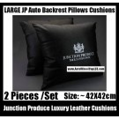 Junction Produce Luxury Leather Auto Car Throw Cushion Backrest Pillow Devil Black Luxury White Color (2 Pieces a Set)