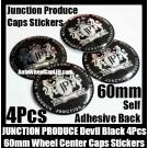 Junction Produce JP Devil Black Wheel Center Caps Emblems Badges Stickers 4Pcs Aluminum Japan