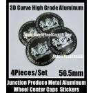 Junction Produce Devil Black 56.5mm Wheel Center Caps Emblems Stickers 4Pcs Set Aluminum Alloy