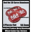 Junction Produce Hot Red 56.5mm Wheel Center Caps Emblems Stickers 4Pcs Set Aluminum Alloy