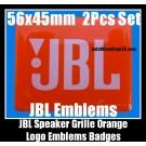 JBL Hi-Fi Speakers Orange Logo Emblems Badges Grille Stickers 2Pcs Set High-Grade Professional