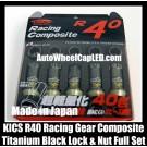Project KICS R40 Locking Lugs Nuts M12xP1.25 P1.5 Racing Composite Gear Wheels Rims Titanium Black Japan Full Set