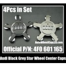 Audi Black Grey Chrome Silver Star Wheel Center Emblems Roundels Caps 4F0 601 165 A4L A6L A3 A4 A5 A6 A7 A8 Q3 Q5 Q7 TT 4F0601165