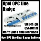 Opel OPC Line Emblem Rear Side Badge 3D Chrome Silver Blue