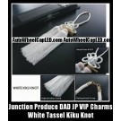 Junction Produce DAD JP VIP Charms Bright White Kiku Knot w/ Lucky Wood Tag for Auto Car