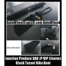 Junction Produce DAD JP VIP Charms Cool Black Kiku Knot w/ Lucky Wood Tag for Auto Car