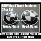BMW Black White Carbon Fiber 82mm Hood 74mm Trunk Emblems Bonnet Boot Roundels Badges 2Pcs
