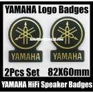 Yamaha Hi-Fi Speaker Logo Emblem Badge Circle Black Golden 2Pcs for All Models and KSX-25
