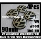 VW Volkswagen 90mm Black Chrome Silver Wheel Center Caps Roundels Stickers 4Pcs Emblems Badges Curve Aluminum Alloy
