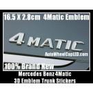 Mercedes Benz 4Matic Chrome Silver Emblems Letters Rear Trunk Stickers GL GLK SL ML Class BLUETEC P/N A 220 817 10 15