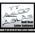 Audi A3 A4 A4L A6 A6L A8L Q5 Q7 TT Rear Trunk Letter Emblems Badges Chrome Silver Engine Size