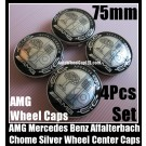 AMG Mercedes Benz Affalterbach Metal Black Chrome Silver Apple Tree Wheel Center Caps 75mm CLK ML GL SL CL E C 4Pcs set