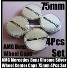 AMG Mercedes Benz Chrome Silver Wheel Center Caps 75mm CLK ML GL SL CL E C S Class 4Pcs Set