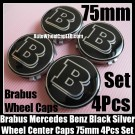 Brabus Mercedes Benz Black Chrome Silver Wheel Center Caps 75mm CLK S C Class C200 C180 E63 4Pcs Set