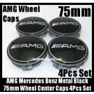 AMG Mercedes Benz Devil Black Chrome Silver Wheel Center Caps 75mm Hubs Emblems Badges CLK ML GL SL CL E C S Class 4Pcs