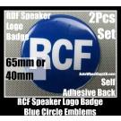 RCF Blue Hi-Fi Speaker Emblems Badges 40mm 65mm Logo Circle 2Pcs Self Adhesive Back Stickers